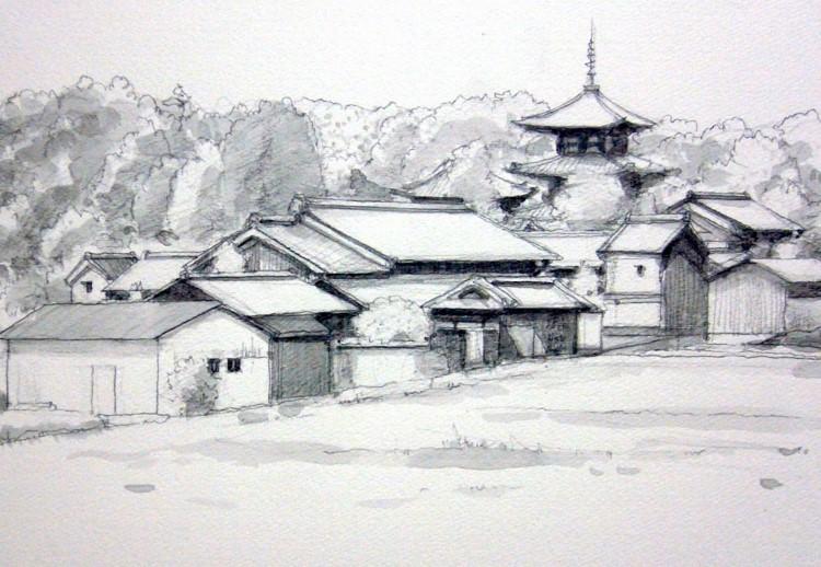 斑鳩法輪寺 グリザイユ (750x518)
