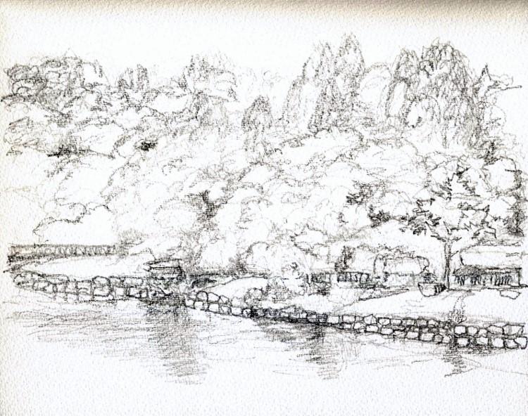 大阪城公園の内堀 デッサン (750x592)