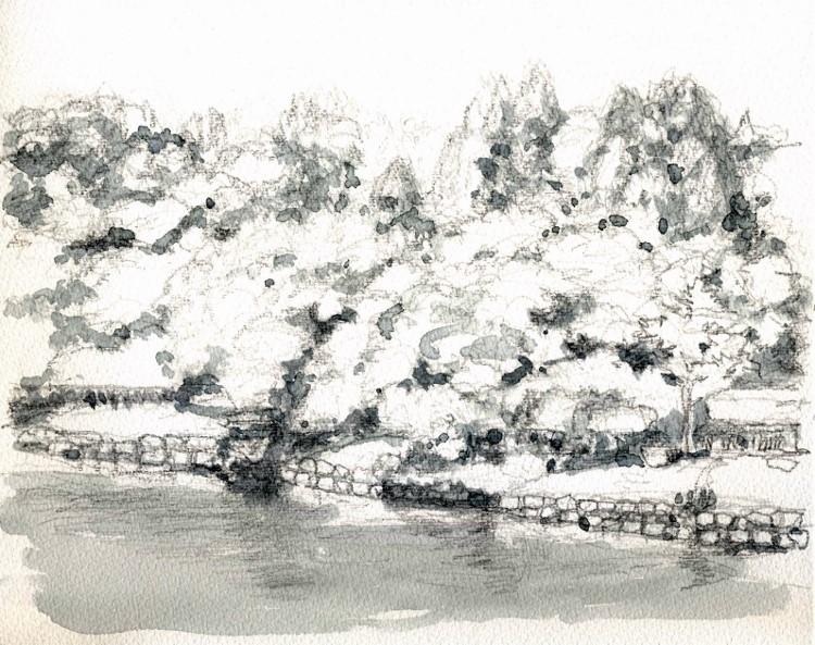 大阪城公園の内堀 グリザイユ (750x593)