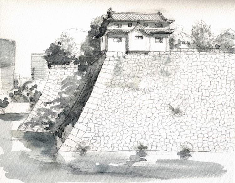 大坂城大手前から グリザイユ (750x584)
