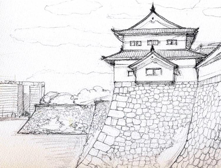 大坂城の櫓 デッサン 001 (750x569)
