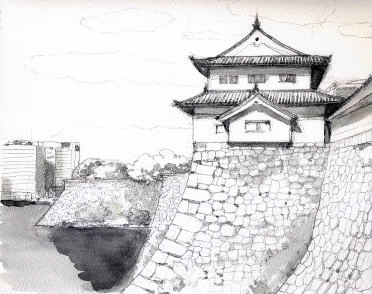 大坂城の櫓 グリザイユ (750x592)