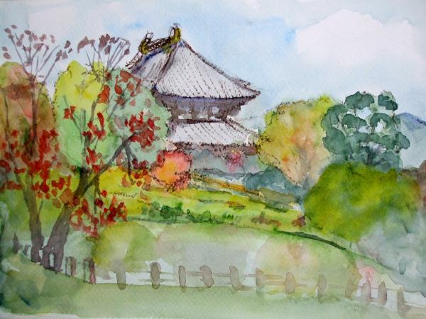 東大寺 裏の池 横