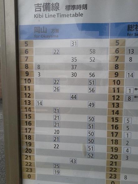 吉備線時刻表