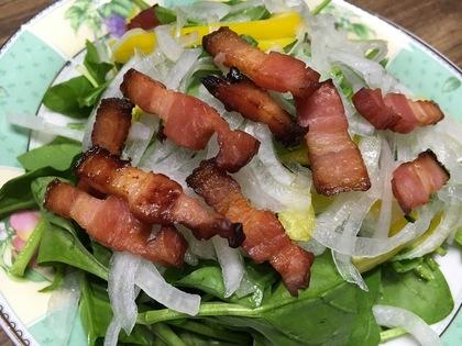 ベーコンとサラダほうれん草のサラダ