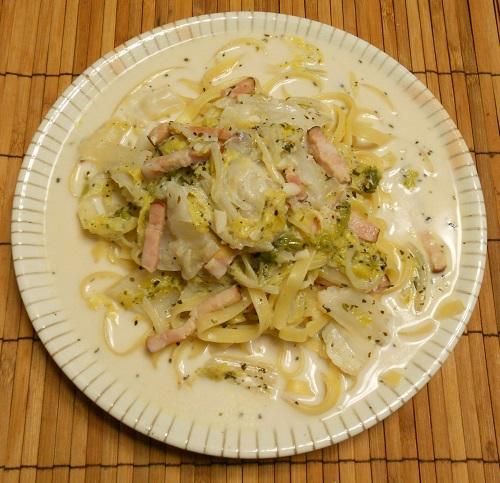 焼き白菜とベーコン煮パスタ7