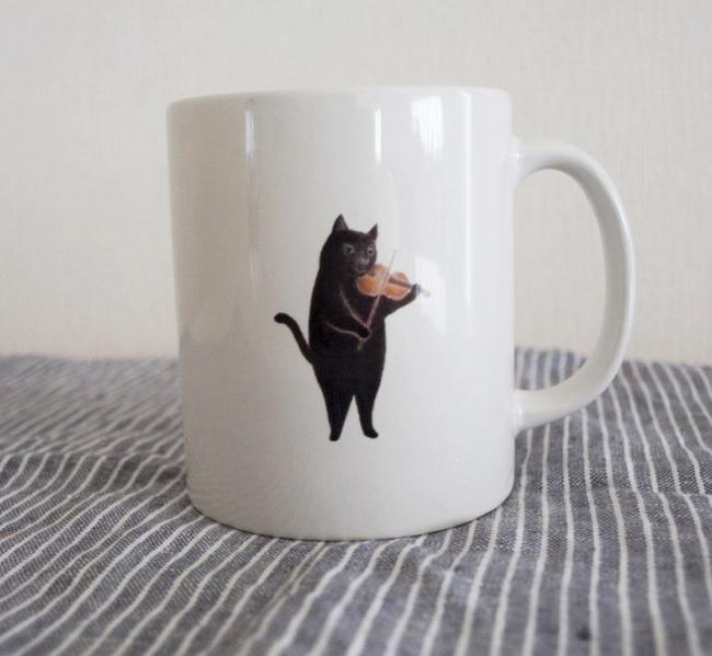 黒ねこマグカップ