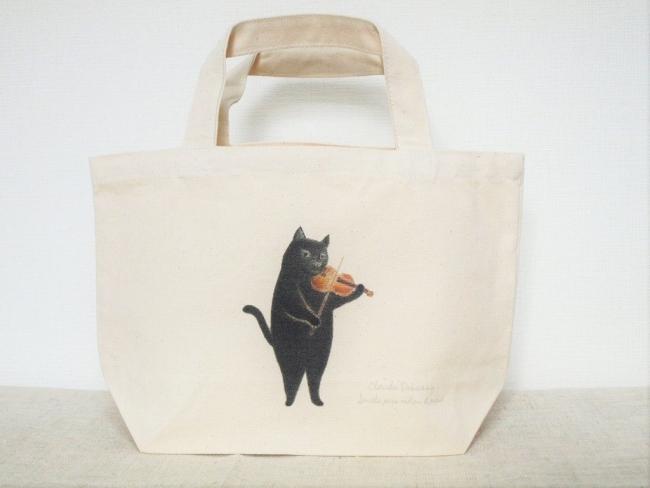 黒猫トートバッグS