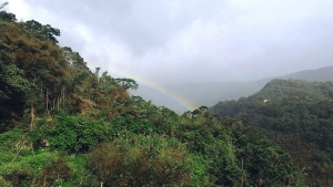 rainbow in magical mountain