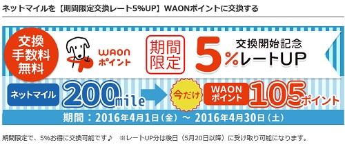 waonポイントへの交換、5%レートアップキャンペーン