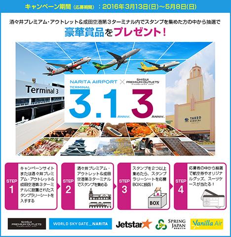 酒々井プレミアム・アウトレットと成田空港は、往復航空券などが当たるスタンプラリーを開催!