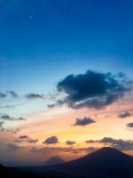 八丈富士と八丈小島が見える登龍峠のサンセット