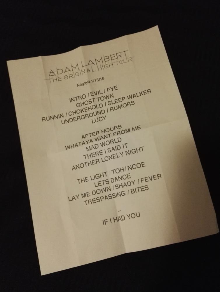 Adam Lambert Nagoya TOHtour アダム・ランバート 名古屋 セットリスト