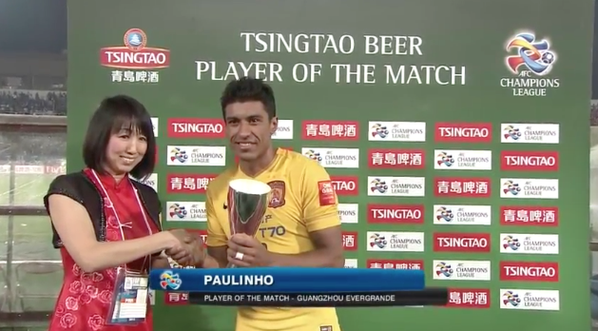 The @tsingtao Player of the Match is @GZEvergrandeFCs Paulinho!