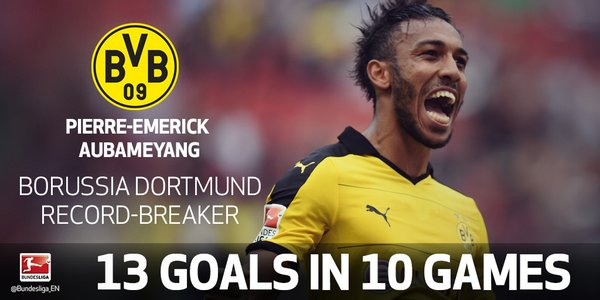 Aubameyang is the first @BVB player to score 13 goals after ten matchdays