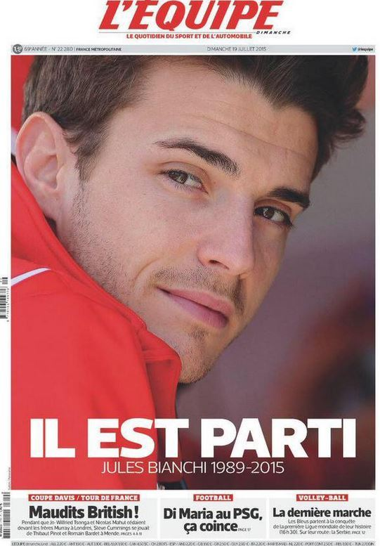 Jules Bianchi succumed to his wounds sustained in a crash
