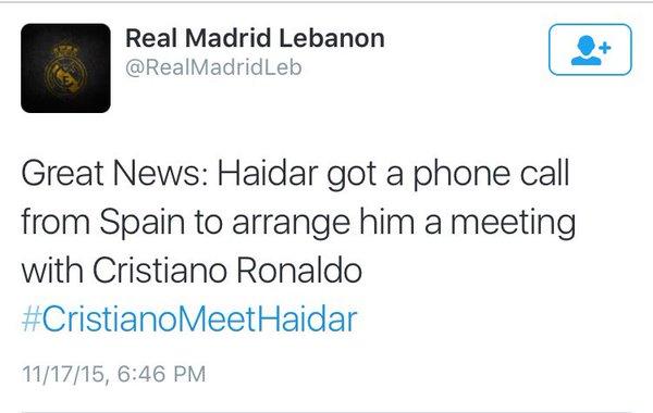 #CristianoMeetHaidar report