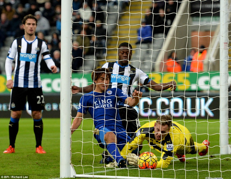Okazaki pokes home his sides third goal of the game against Newcastle