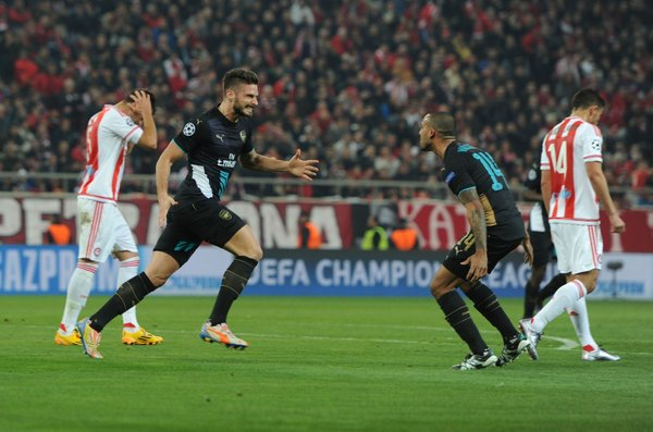 OlivierGiroud_ celebrates scoring his first hat-trick for Arsenal #OLYvAFC