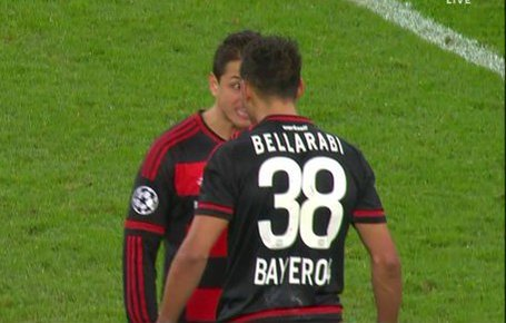 Chicharito got in a fight with one of his own team mates tonight