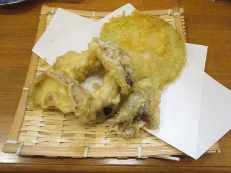 大根の天ぷら+しいたけの天ぷら
