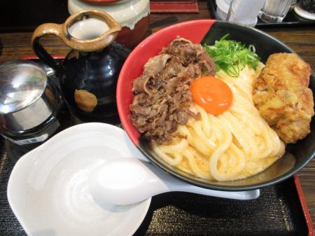 肉釜玉うどん+鶏天