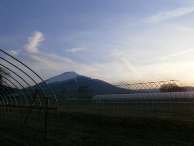 岩手山とハウス20160318