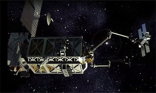 静止軌道に衛星の修理工場を