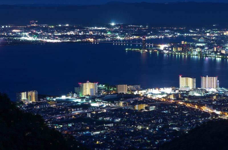 比叡山 夢見が丘 琵琶湖・大津市内の夜景