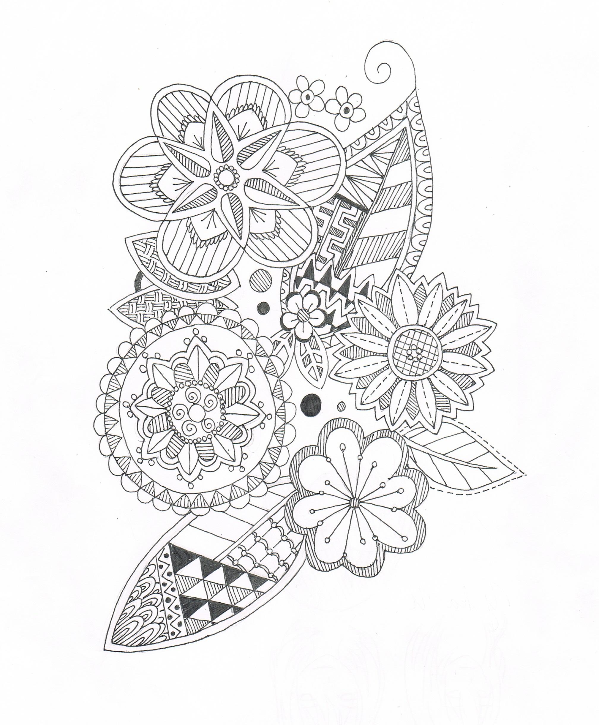 「花(ゼンタングル風)2」