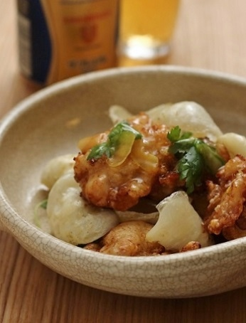 鶏カラと百合根の柚子餡かけ1