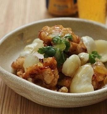 鶏カラと百合根の柚子餡かけ3