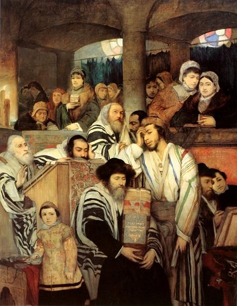 M Gottlieb画 シナゴーグで祈るユダヤ人(1878年)
