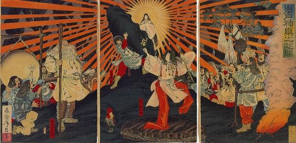 天岩戸神話の天照大神(春斎年昌画、明治20年(1887年))
