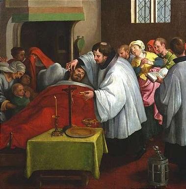 カトリック教会の終油の秘蹟が描かれた絵画