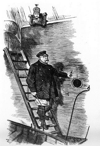 英国誌『パンチ』のビスマルク辞職を描いた挿絵「水先案内人の下船