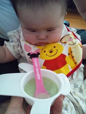 離乳食 ほうれん草とにんじんのミルク粥