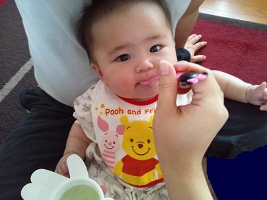 離乳食 ほうれん草とにんじんのミルク粥 実食1