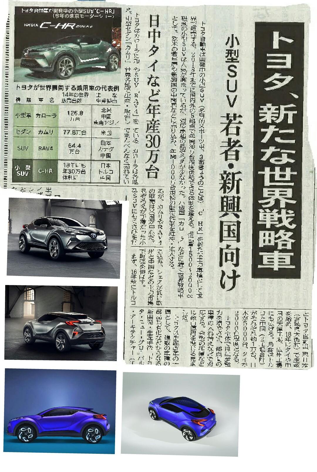 トヨタC-HR 16年秋 日本発売 日経
