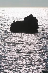 沖合の岩礁には釣り人の姿が