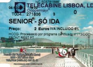 ポルトガル290ロープウエイチケット
