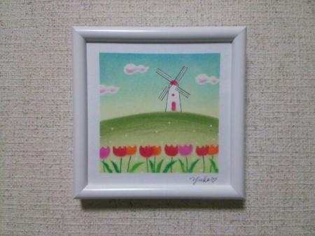 風車とチューリップ20160317