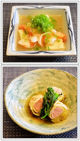 豆腐エビ餡かけ&ロールキャベツ