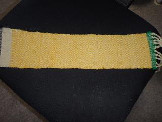 オーバーショット服地サンプル黄色洗う前