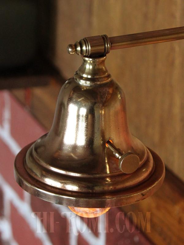 アメリカンヴィンテージベル型シェードストレートアームブラケットランプ/アンティーク工業系