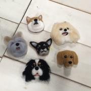 羊毛フェルト 愛犬 愛猫のブローチORマグネット(犬種を指定)③ CREAM SIENNA