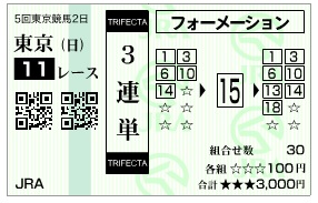 【馬券】1108東京11(競馬 3連単 万馬券)