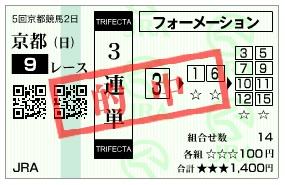 【的中馬券】1108京都9R(競馬 3連単 万馬券)