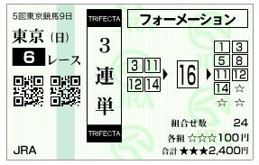 【馬券】1129東京6(競馬 3連単 万馬券)