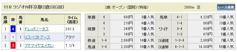 【払戻金】1128京都11(競馬 3連単 万馬券)